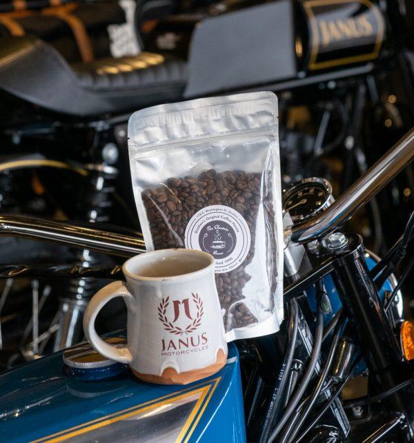 Mug and Coffee combo at Janus Motorcycles