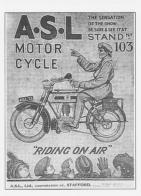 1913 ASL advertisement featuring its air suspension. Image credit, the Velobanjogent.
