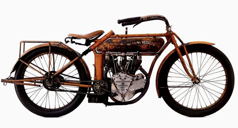 """1913 Flying Merkel Model 71 with """"monoshock"""" rear suspension. Image credit, The American Motorcycle by Stephen Wright."""